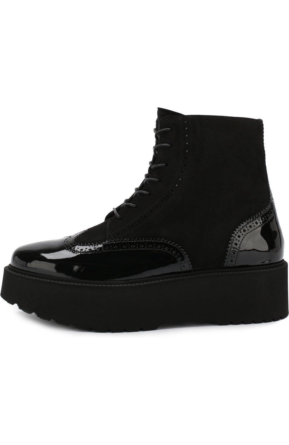 Лаковые ботинки на массивной подошве | Фото №3