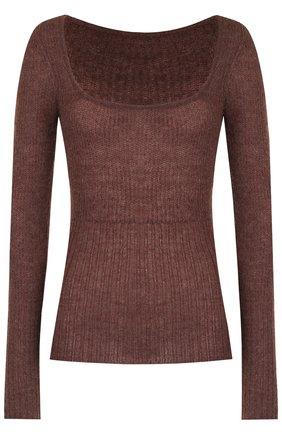 Вязаный пуловер с квадратным вырезом Jacquemus бежевый   Фото №1