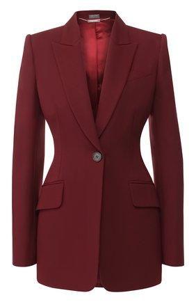 Приталенный жакет из смеси шерсти и шелка Alexander McQueen бордовый   Фото №1