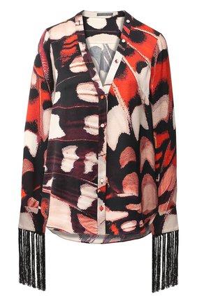 Шелковая блуза с принтом и бахромой | Фото №1