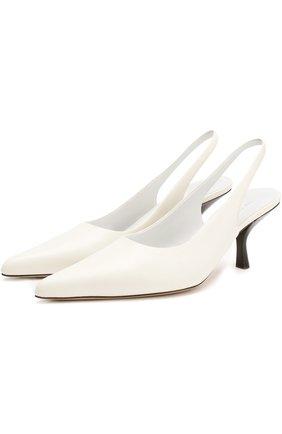 Кожаные туфли на каблуке kitten heel The Row белые | Фото №1