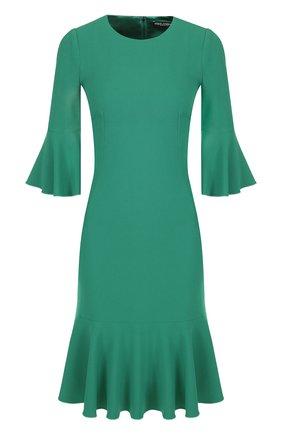 Однотонное платье с оборкой | Фото №1