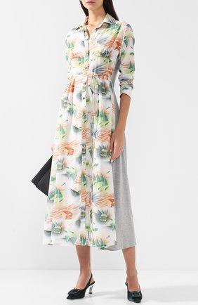 Платье-миди с поясом и принтом Loewe разноцветное | Фото №1