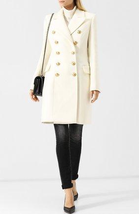 Женское двубортное пальто из смеси шерсти и кашемира BALMAIN белого цвета, арт. 142400/W006   Фото 2