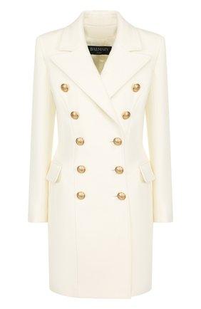 Двубортное пальто из смеси шерсти и кашемира Balmain белого цвета   Фото №1