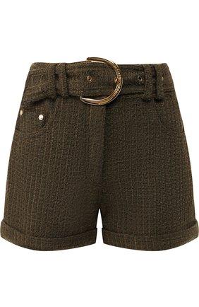 Вязаные шорты с поясом и отворотами Balmain хаки   Фото №1
