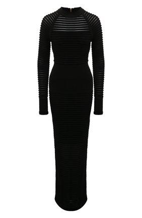 Приталенное платье-макси с воротником-стойкой Balmain черное   Фото №1