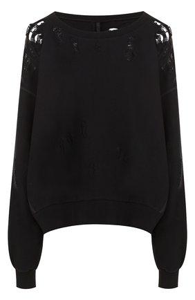 Хлопковый пуловер с декоративными разрезами Ben Taverniti Unravel Project черный | Фото №1