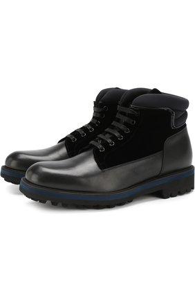 Кожаные ботинки на шнуровке с внутренней меховой отделкой Zilli черные | Фото №1