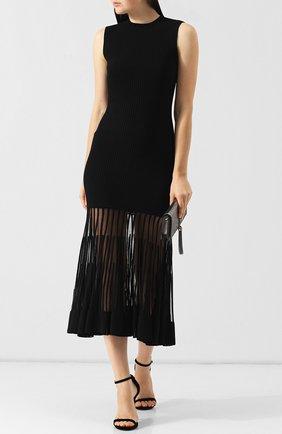 Приталенное платье-миди с оборкой Alexander McQueen красное   Фото №1