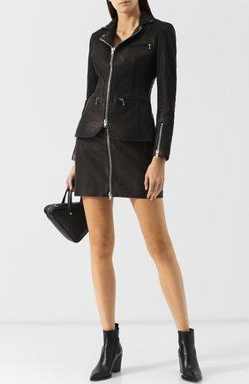 Приталенная кожаная куртка на молнии Alexander Wang черная | Фото №1