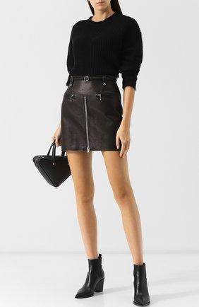 Кожаная мини-юбка с поясом Alexander Wang черная | Фото №1