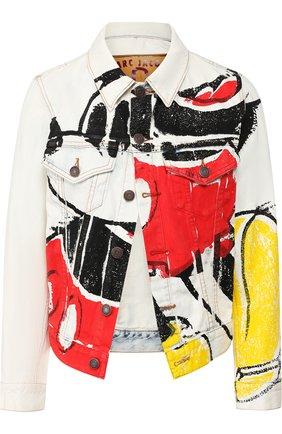 Джинсовая куртка с принтом Marc Jacobs белая | Фото №1