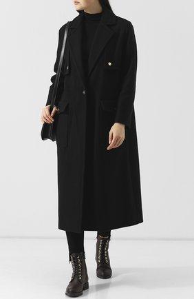 Шерстяное пальто с накладными карманами Iceberg черного цвета   Фото №1