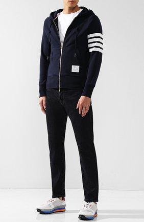 Мужская хлопковая толстовка на молнии с капюшоном  THOM BROWNE темно-синего цвета, арт. MJT022H-00535 461   Фото 2
