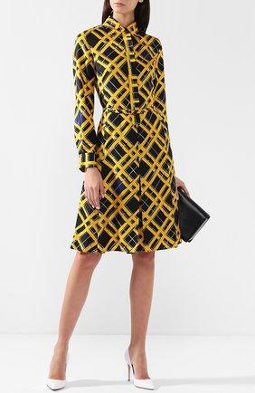 Шелковое платье с поясом и принтом Bottega Veneta желтое | Фото №1