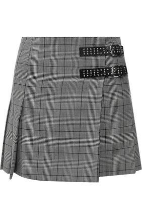 Шерстяная мини-юбка в клетку REDVALENTINO черно-белая | Фото №1