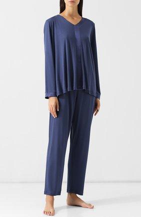 Однотонная пижама из смеси хлопка и вискозы Hanro синяя | Фото №1