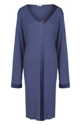 Однотонная сорочка с V-образным вырезом Hanro синяя | Фото №1