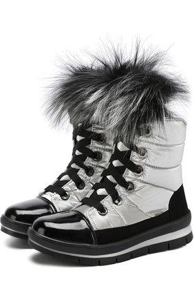 Текстильные утепленные сапоги на шнуровке   Фото №1