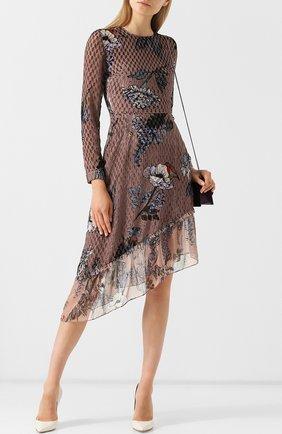 Приталенное платье с оборкой и принтом Markus Lupfer разноцветное | Фото №1
