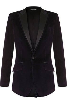 Однобортный пиджак из смеси хлопка и шелка   Фото №1