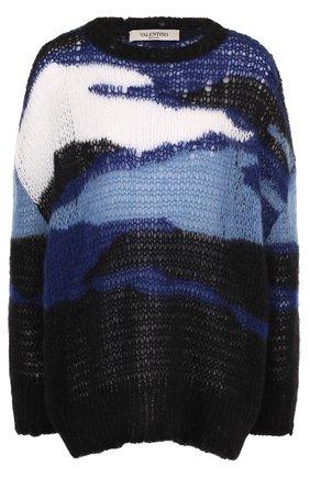 Вязаный пуловер свободного кроя с круглым вырезом   Фото №1