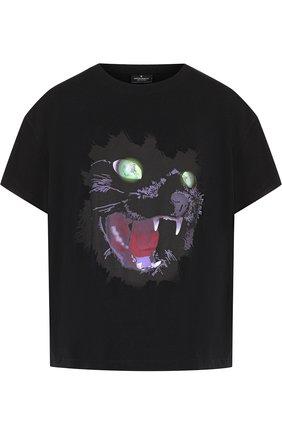 Хлопковая футболка с принтом Marcelo Burlon черная   Фото №1