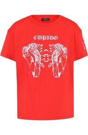 Хлопковая футболка с принтом Marcelo Burlon красная   Фото №1