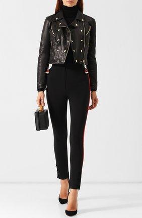 Женская кожаная куртка на молнии DOLCE & GABBANA черного цвета, арт. F9829L/HULAW | Фото 2