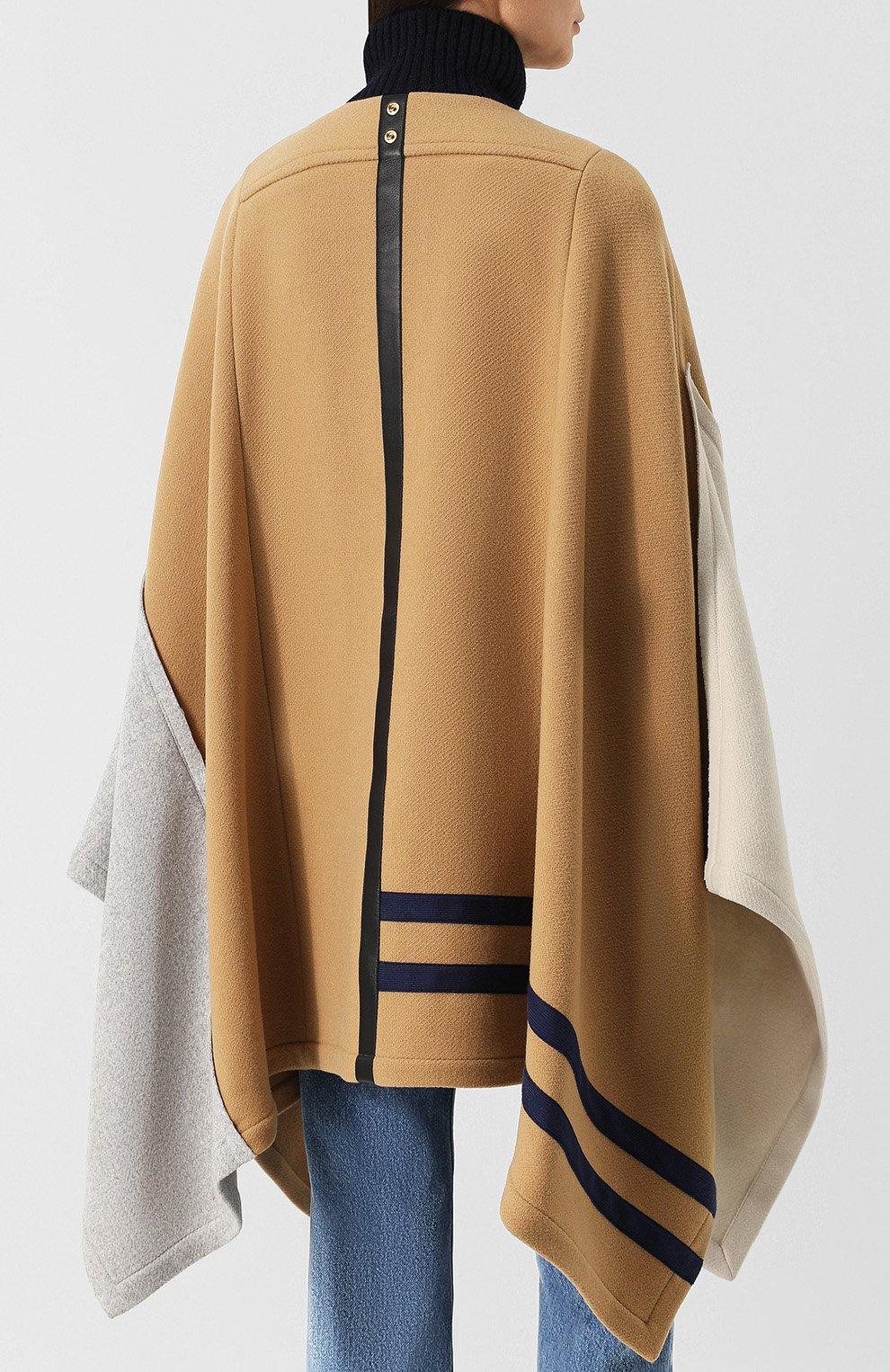 Женская шерстяное пончо с воротником-стойкой CHLOÉ бежевого цвета, арт. CHC18AMA22072   Фото 4