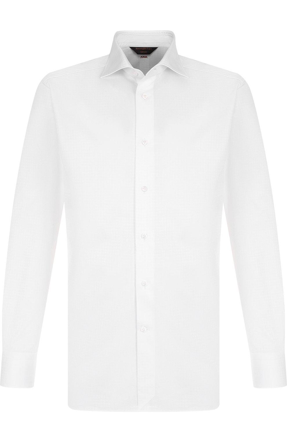 Мужская хлопковая сорочка с воротником кент ZEGNA COUTURE белого цвета, арт. 402037/9NS0RI   Фото 1