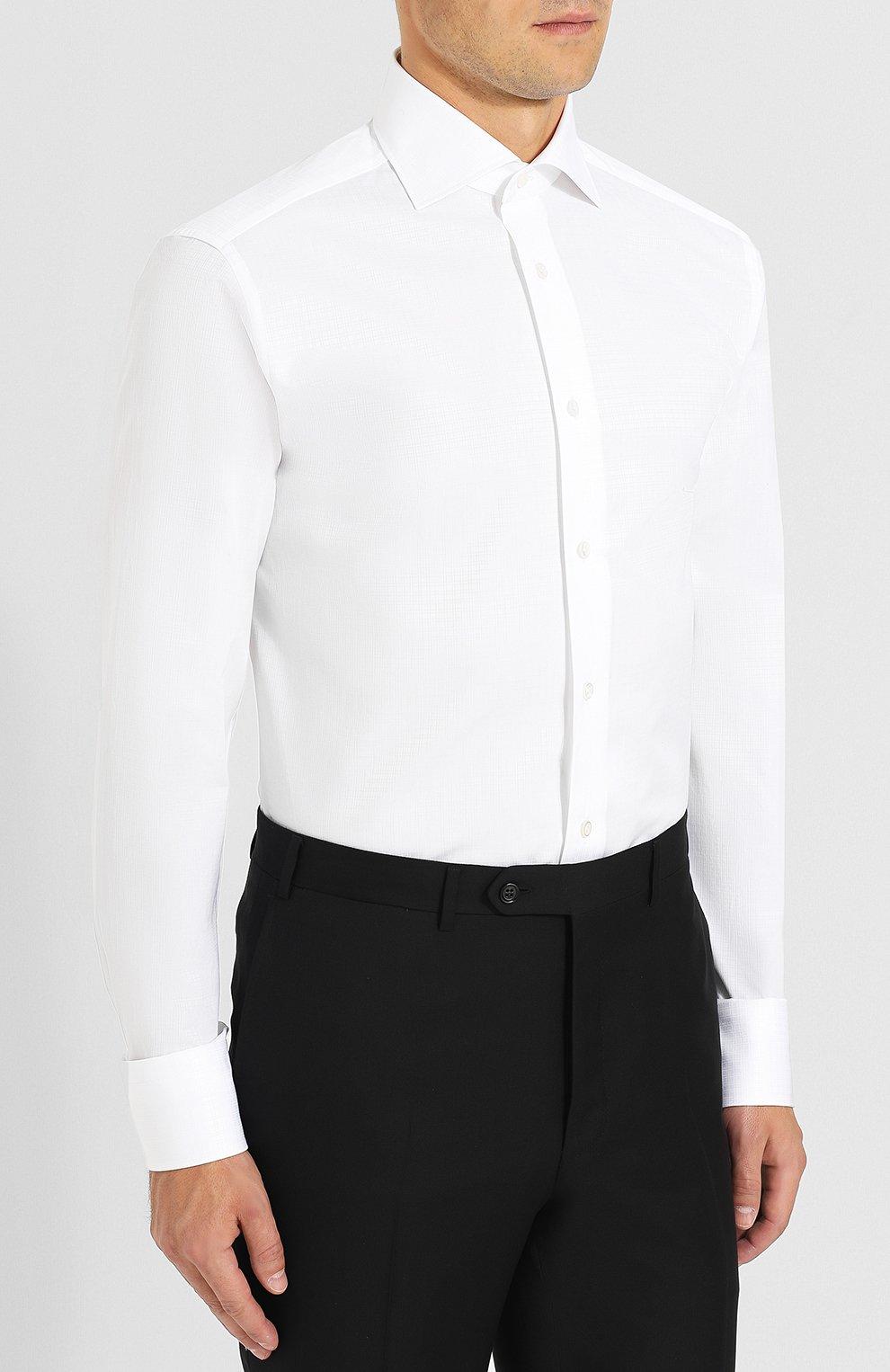 Мужская хлопковая сорочка с воротником кент ZEGNA COUTURE белого цвета, арт. 402037/9NS0RI   Фото 3