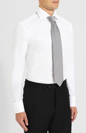 Мужская хлопковая сорочка с воротником кент ZEGNA COUTURE белого цвета, арт. 402037/9NS0RI   Фото 4