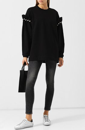 Хлопковый пуловер с декоративной отделкой Mother Of Pearl черный | Фото №1
