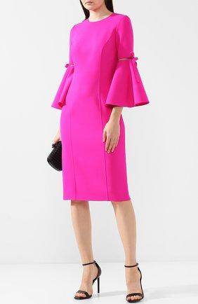 Шерстяное платье с расклешенными рукавами Oscar de la Renta фуксия | Фото №1