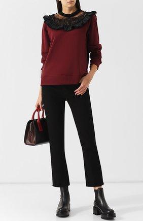 Укороченные однотонные джинсы Paige черные | Фото №1