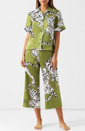 Шелковая пижама с принтом Olivia Von Halle хаки | Фото №1