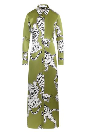 Шелковый халат с принтом Olivia Von Halle хаки | Фото №1