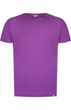 Льняная футболка с круглым вырезом | Фото №1