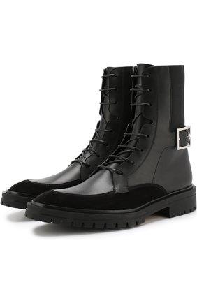 Комбинированные ботинки на шнуровке | Фото №1