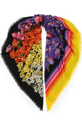 Шерстяная шаль с цветочным принтом | Фото №1