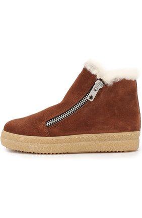 Детские замшевые ботинки с внутренней меховой отделкой Gallucci коричневого цвета | Фото №1