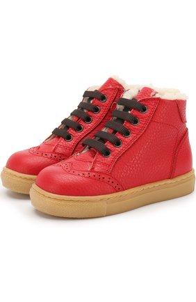 Детские кожаные ботинки с внутренней меховой отделкой Gallucci красного цвета | Фото №1