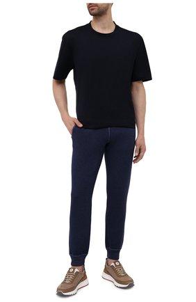 Мужские джоггеры из шерсти и кашемира GRAN SASSO темно-синего цвета, арт. 57154/19543 | Фото 2 (Длина (брюки, джинсы): Стандартные; Материал внешний: Шерсть; Силуэт М (брюки): Джоггеры)