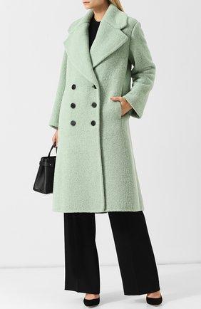 Двубортное шерстяное пальто Burberry светло-зеленого цвета   Фото №1