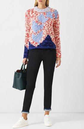 Вязаный пуловер с круглым вырезом Burberry красный   Фото №1