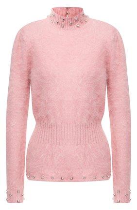 Приталенный пуловер с воротником-стойкой | Фото №1