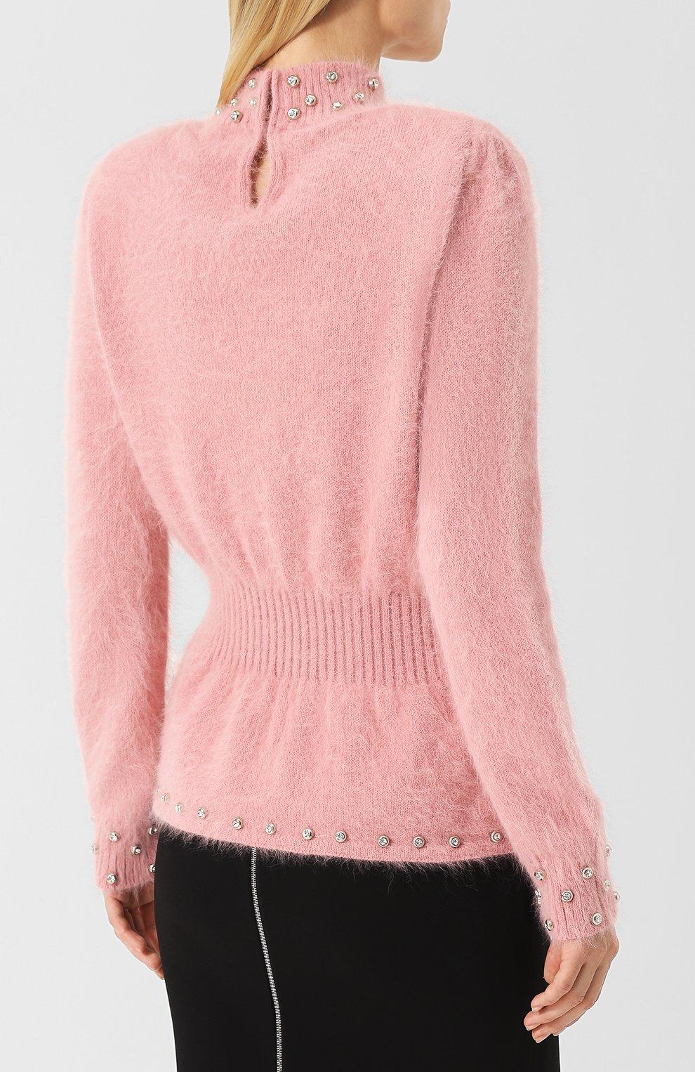 Пуловер с пушистыми воротником и манжетами