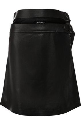 Женская кожаная мини-юбка с поясом TOM FORD черного цвета, арт. GCL755-LEX181 | Фото 1